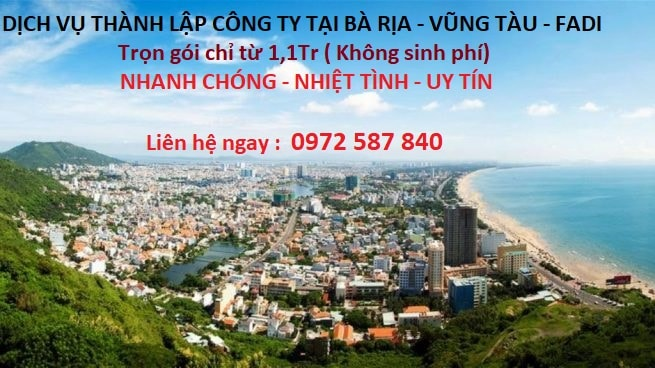 Dịch vụ thành lập công ty tại Bà Rịa Vũng Tàu